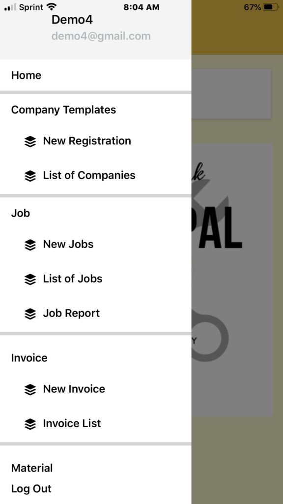 Business App Menu